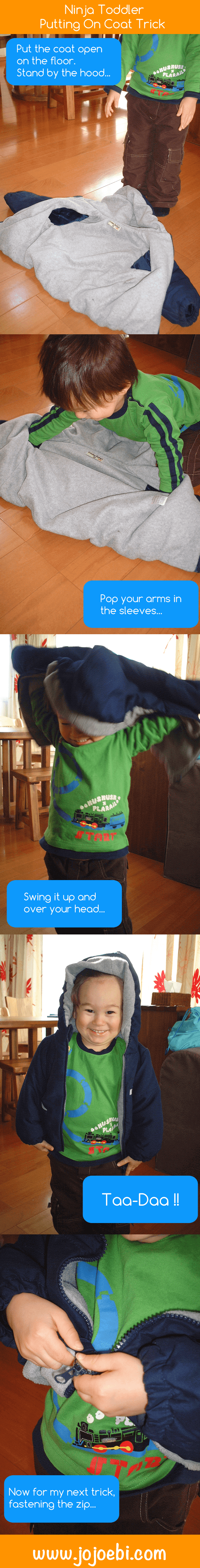 toddler putting on his coat by himself