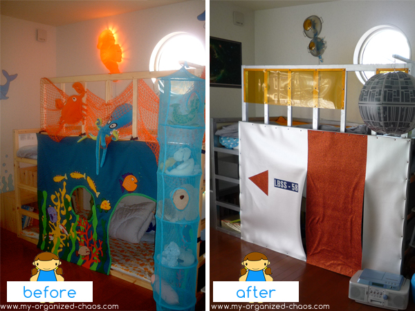 The Big Reveal - Sea themed bedroom makeover to space themed ...