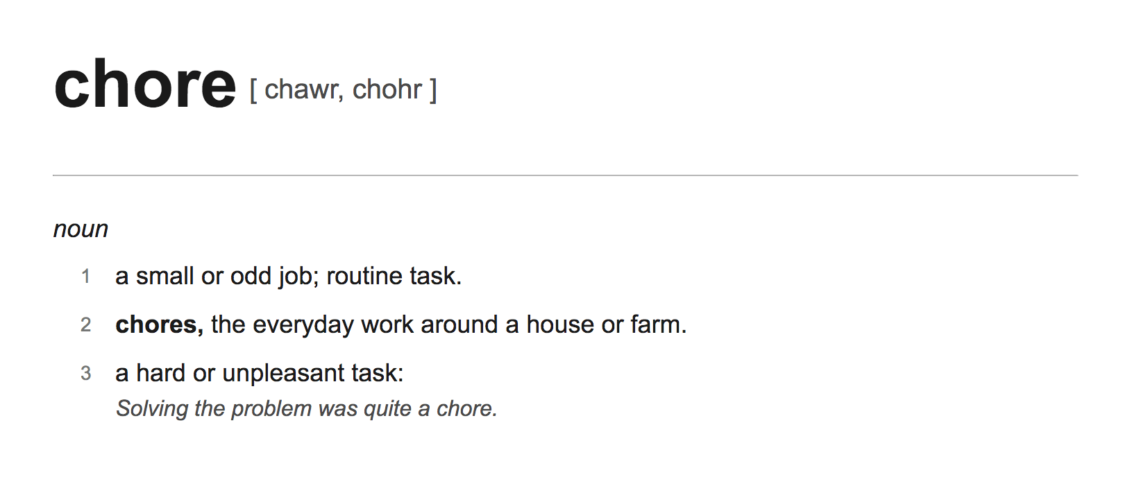 written description showing the definition of the word chore