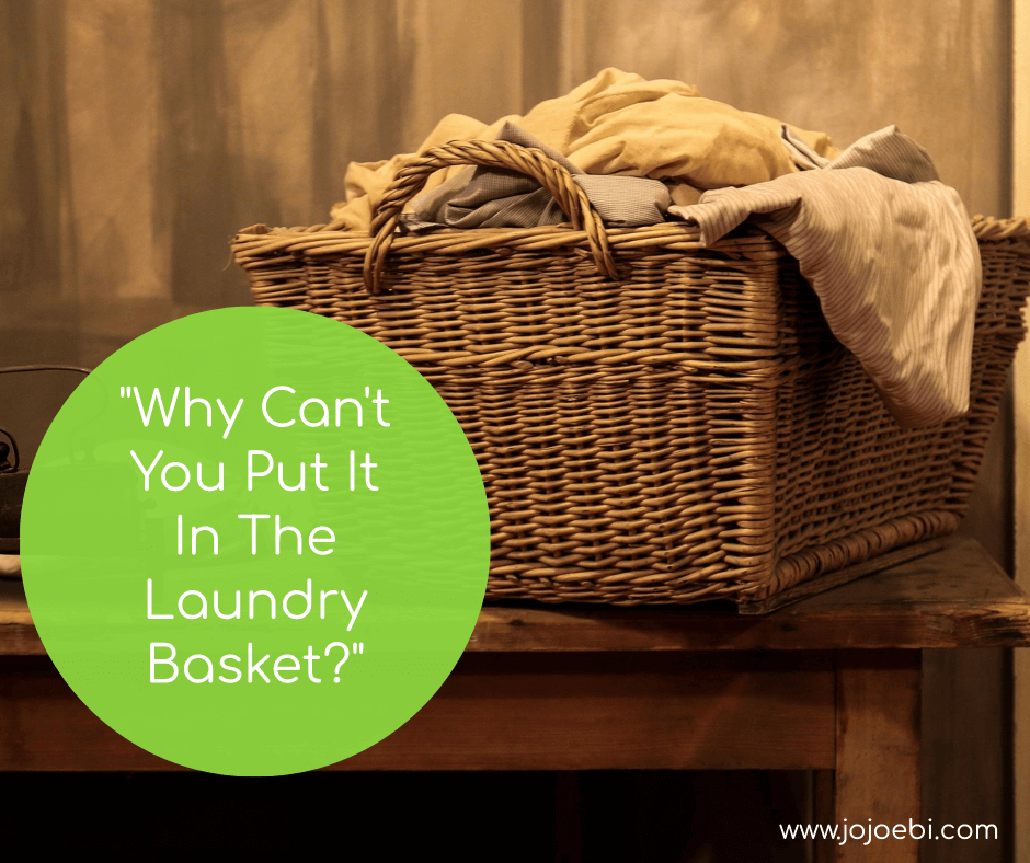 dirty clothes in the laundry basket