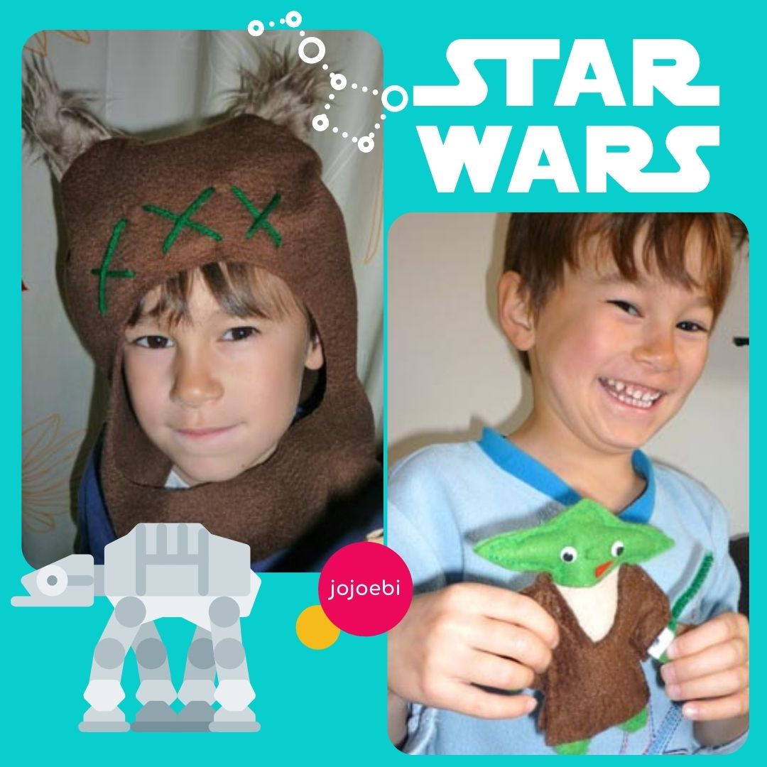 small boy wearing ewok hat and a boy holding a felt yoda doll