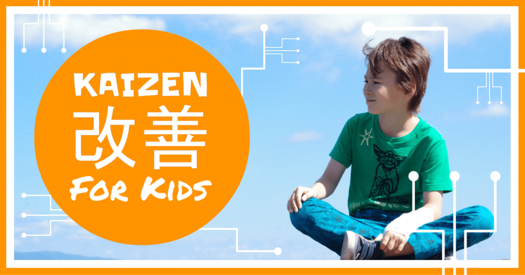 kid sitting with blue sky behind him thinking of kaizen for kids