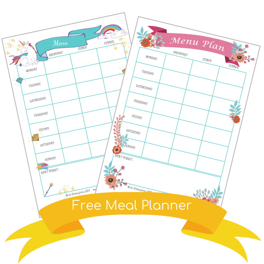 Get your FREE meal planner, simple choose which design you like - unicorns or flowers. Use it each week to stay organized and provide your family with healthy meals. #mealplanner #download #freeplanner #kaizen #planner