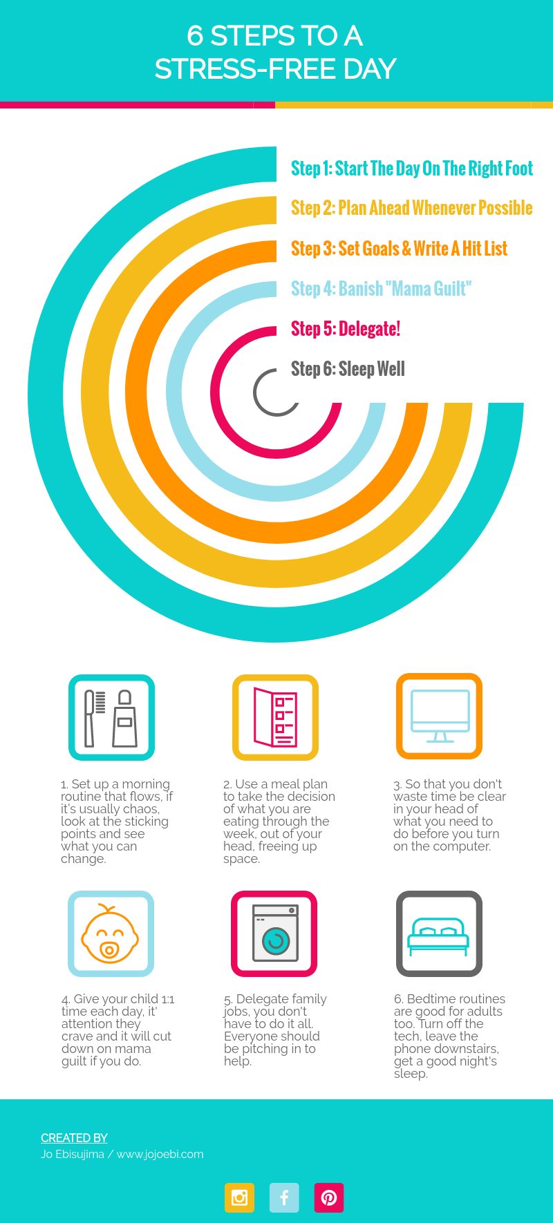 6-steps-to-stress-free-day - How To Make Infographics | inforgraphic | make infographic | how to | visme | review | #kaizen #infographic #howto