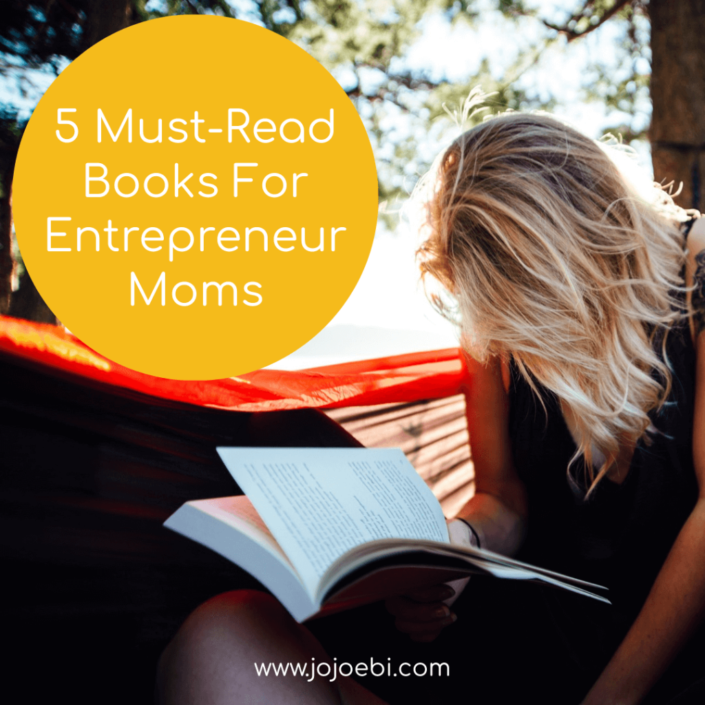 books for business moms. woman with blond hair reading a book outside