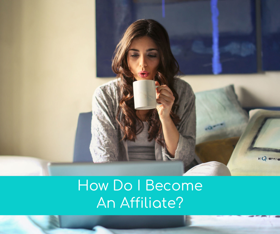 Woman drinking coffee and looking at her computer whilst thinking if she could become an affiliate marketer