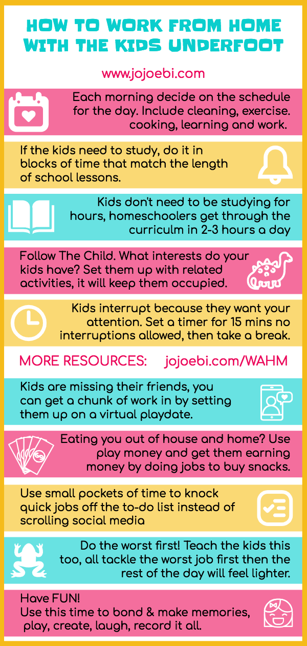 graphic with text steps on how to work from home with the kids home too
