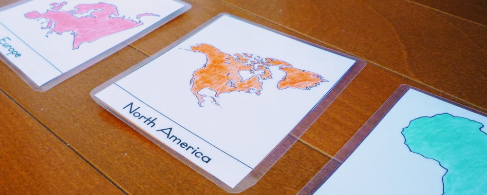 using Montessori 3 part cards to learn about geography