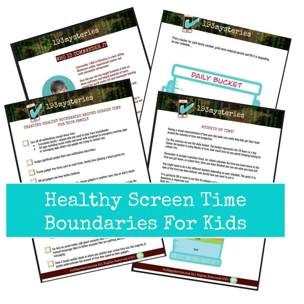 4 pages from the free PDF helping parents to set screen time and kids
