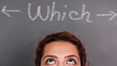 multi-passionate mom trying to decide with the word which above her head