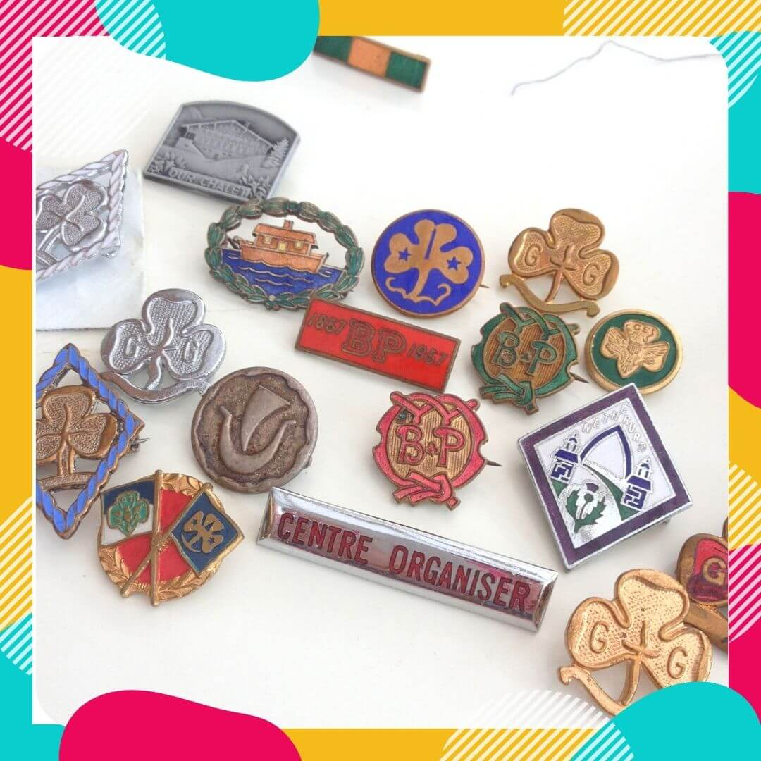 declutter sentimental items like these scout and guide enamel badges