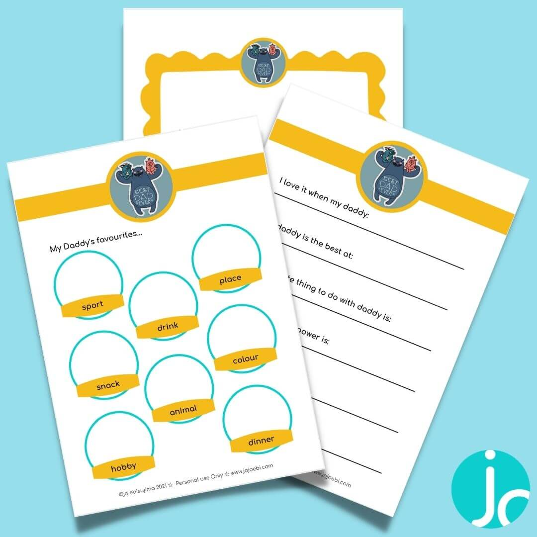 pages from an easy father's day printable pack