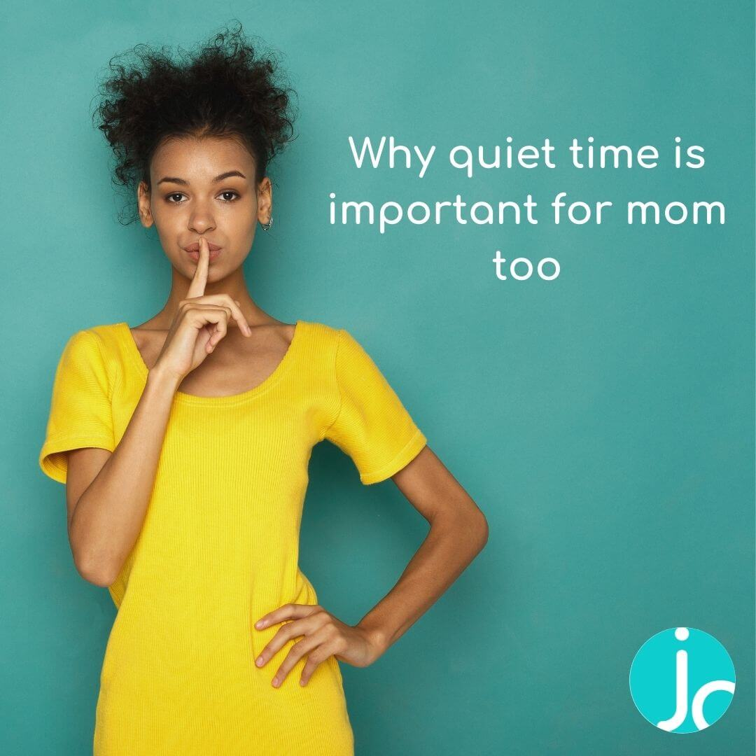 """Black woman in yellow dress doing the hushed finger sign with the text """" why quiet time is important for mom too"""""""