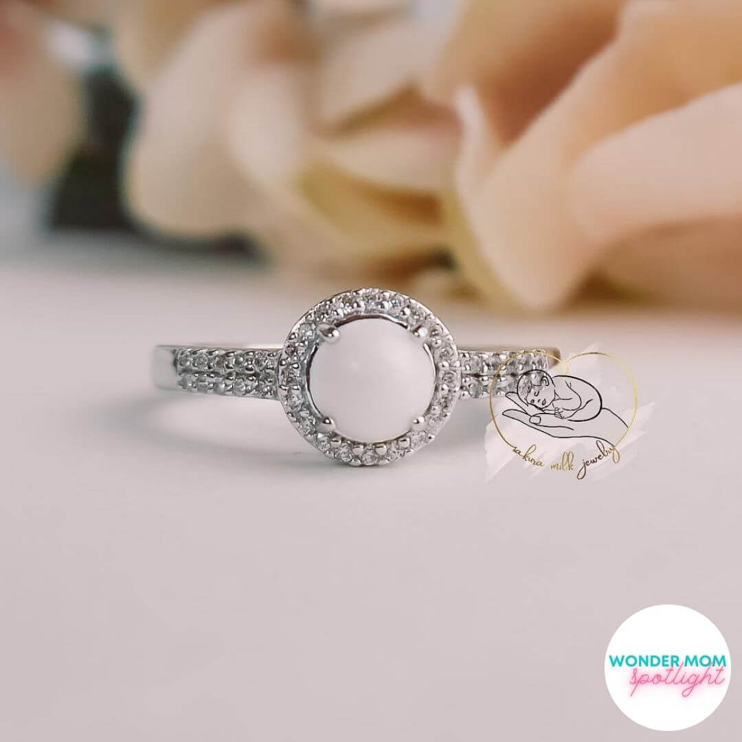 beautiful rung set with diamonds and a breast milk pearl made by a wonder mom member