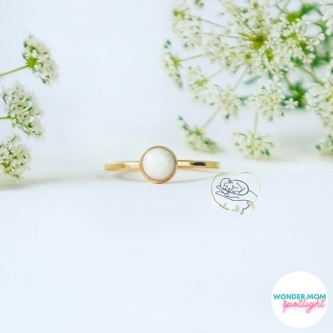gold ring with breast milk 'stone'